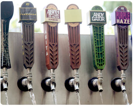 Microbrew beer taps