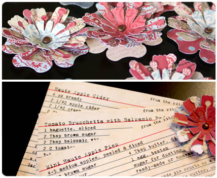 Vintage recipe card, flower paper punch