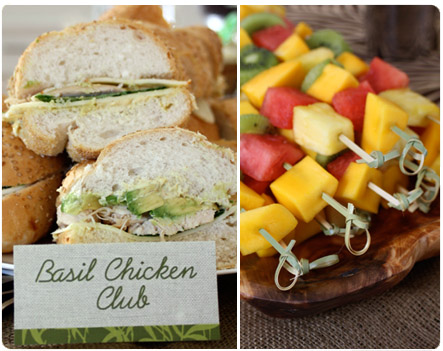 Basil Chicken Club Sandwich, Fruit Kabobs
