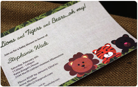 Lions, Tigers & Bears, Safari Baby Shower Invitation