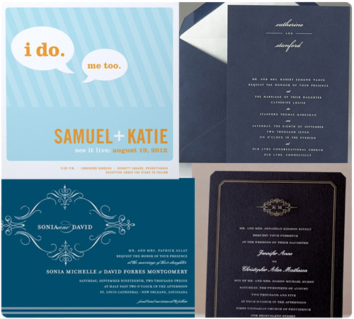 Blue Wedding Invitations, Navy Wedding Invitations