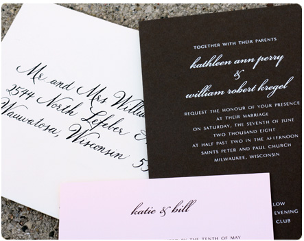 Pink & Brown wedding invitations