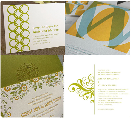 Lime Green, Vintage Green Wedding Invitations