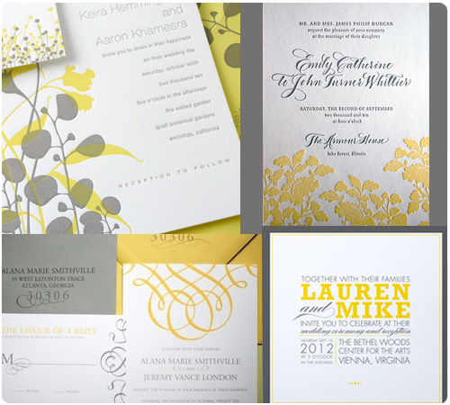 Yellow Grey Wedding Invitations