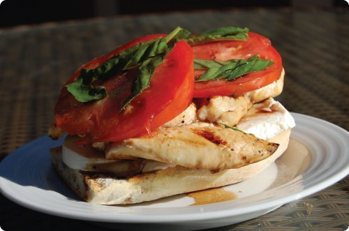 Open Faced Chicken Caprese Sandwich