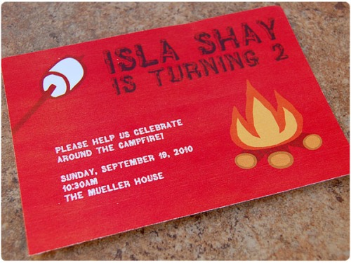 campfire birthday invitation