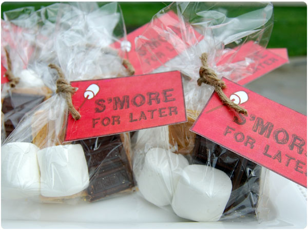 "As party favors, guests were asked to take a ""smore for later ..."