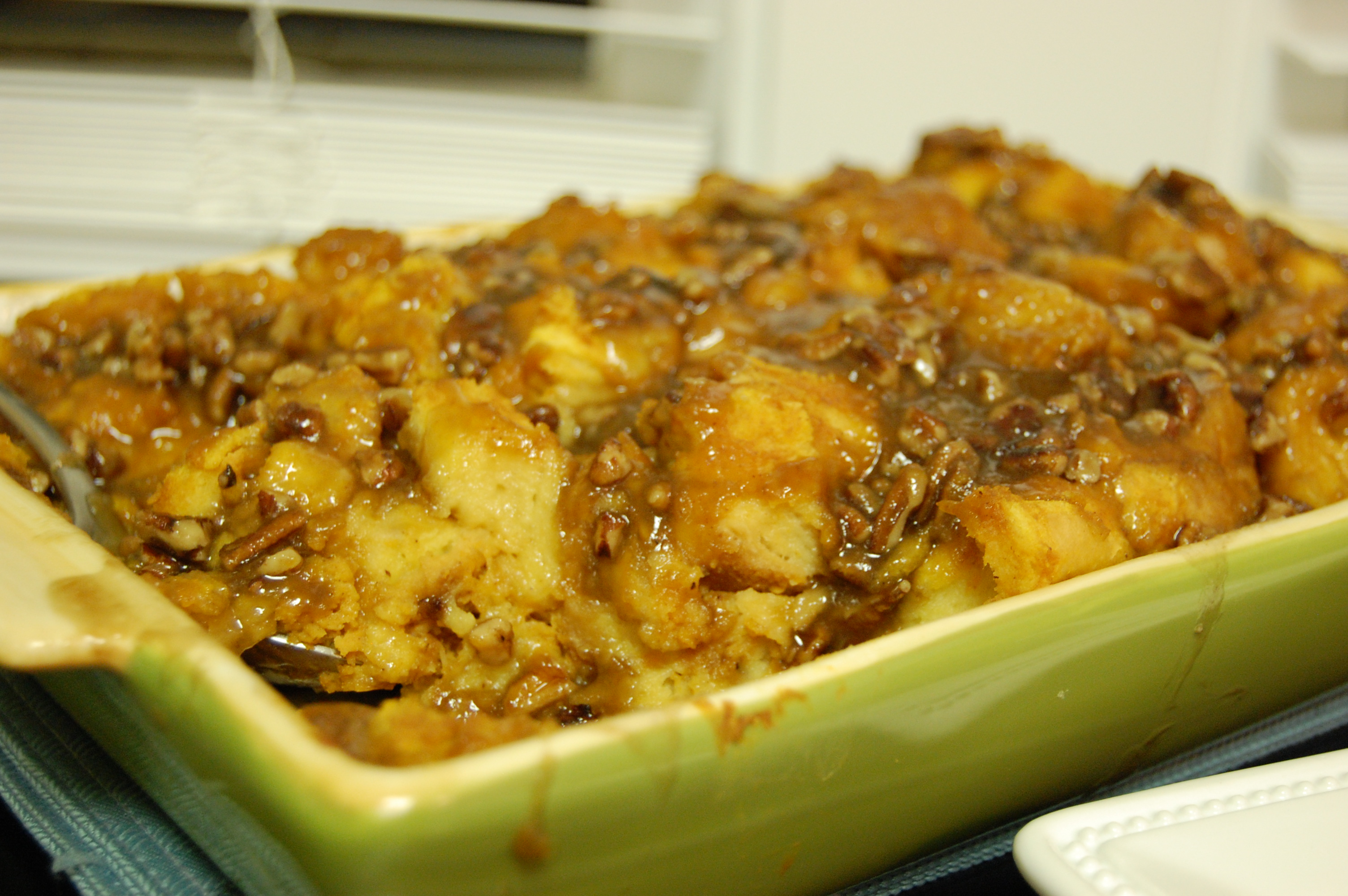 Pumpkin Bread Pudding with Caramel and Pecans