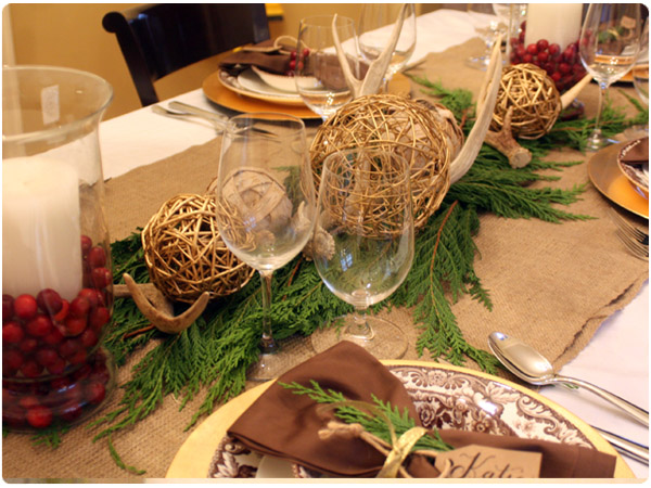 A festive holiday table for Burlap christmas table decorations