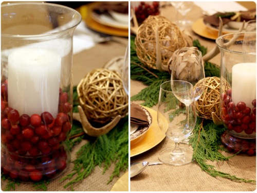 gold and crimson table settings