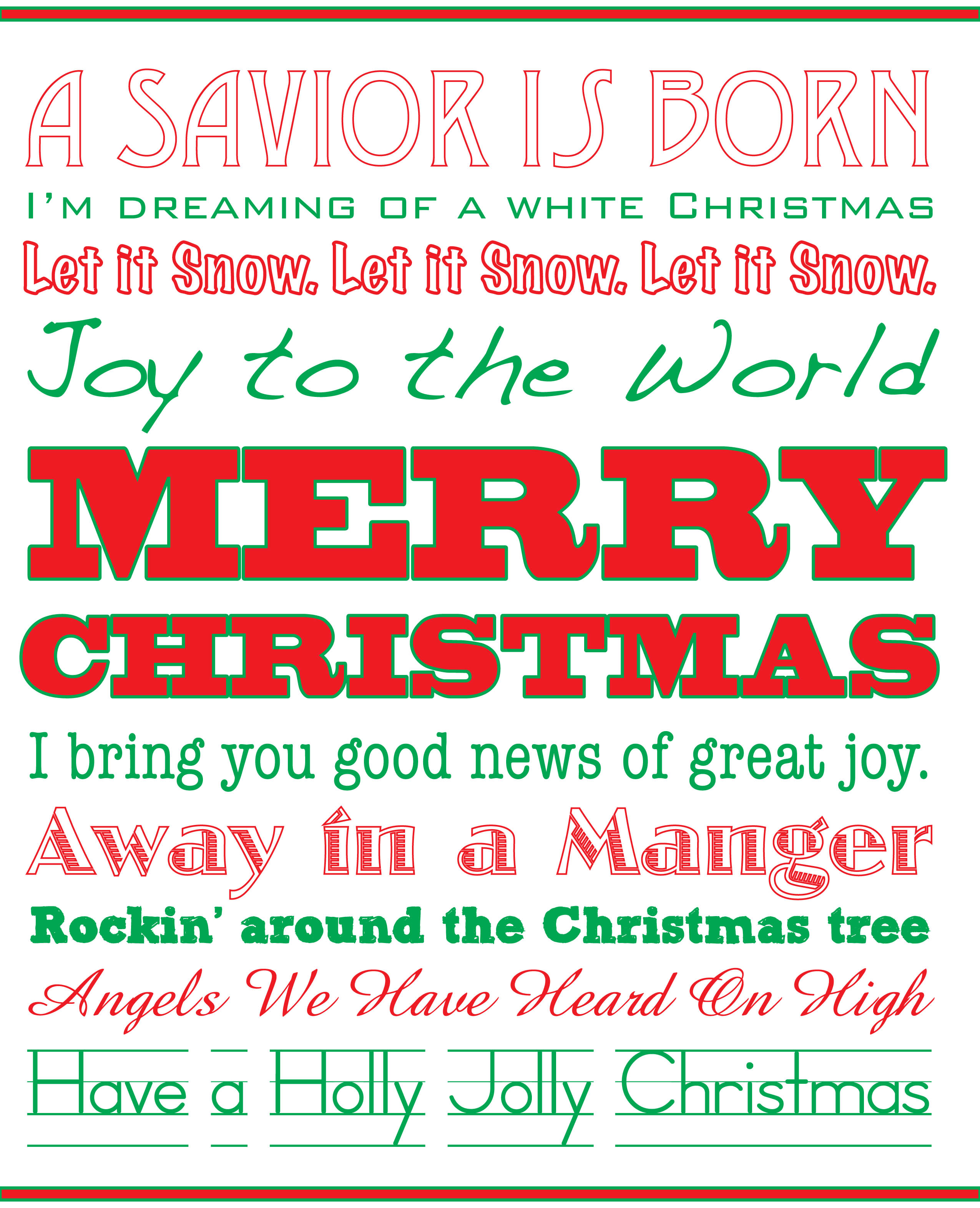 Free Download} Christmas Typography Sign |