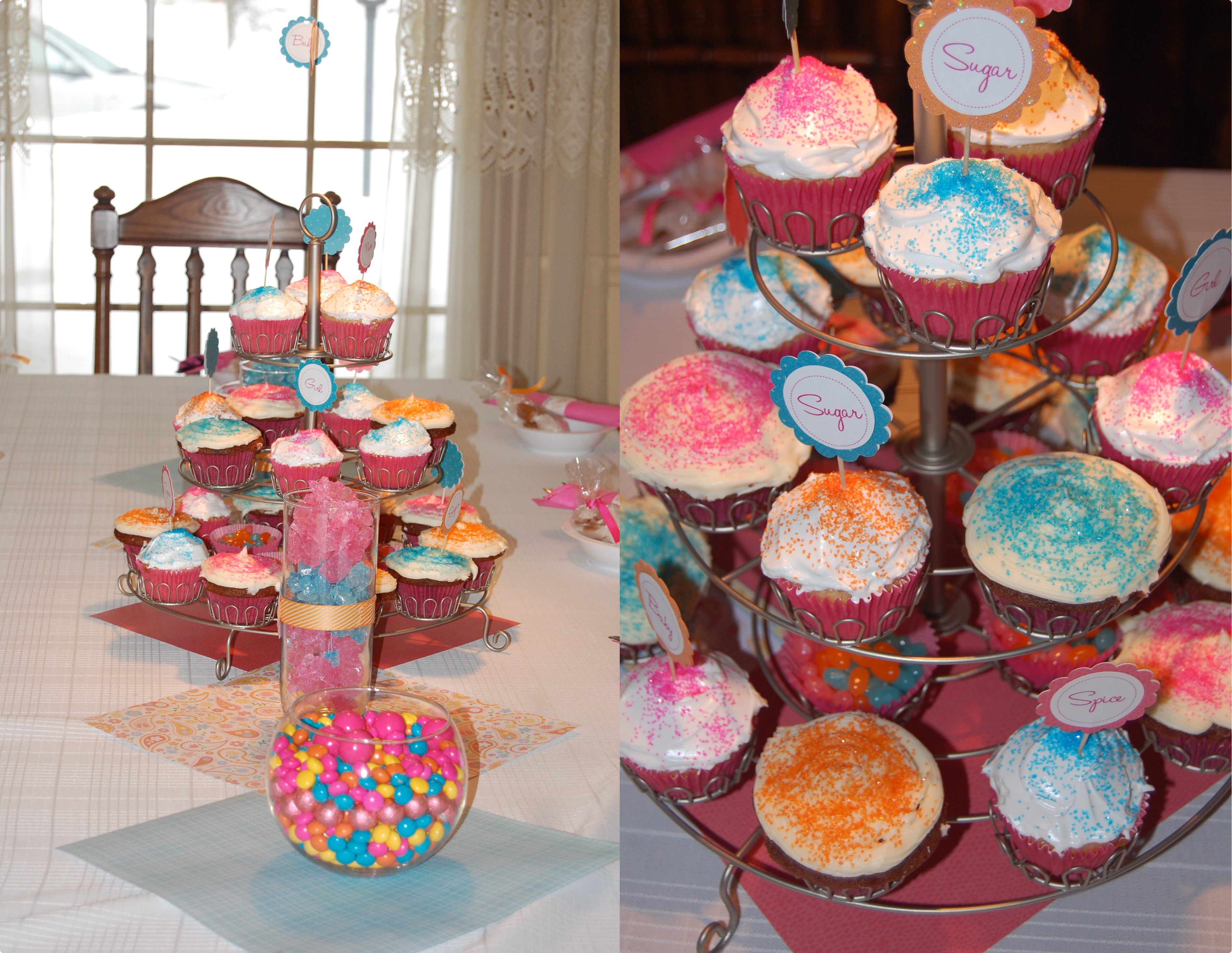 ... like baby, girl, pretty, sugar and spice were placed in the cupcakes