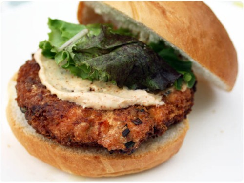 crab cake style salmon patty
