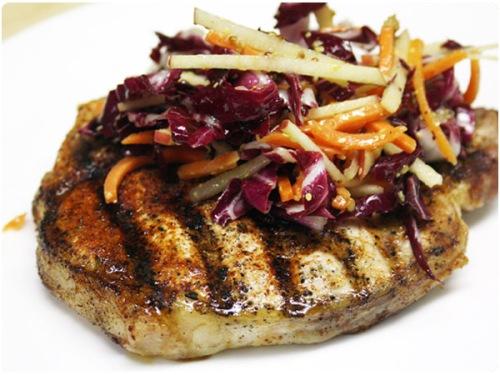 pork chop with carrot slaw