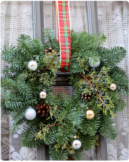 wreath with tartan ribbon
