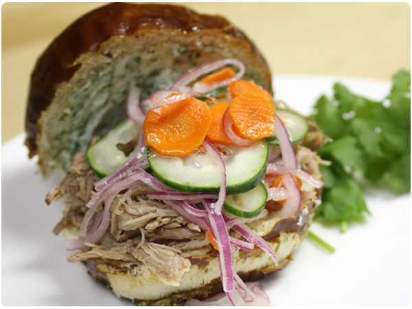 Puled Pork with Quick Pickled Vegetables