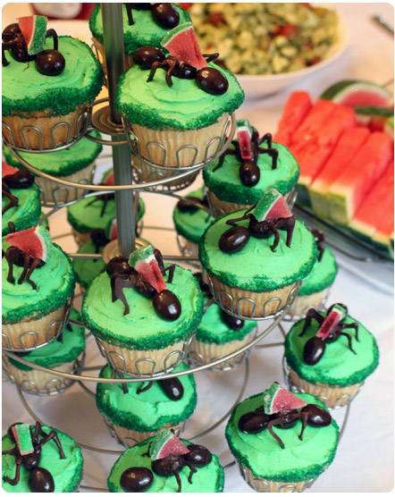 bug theme birthday cupcakes