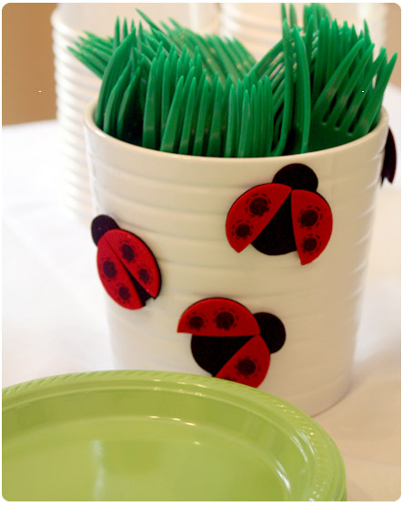 Bug themed first birthday party for Craft plastic sheets walmart