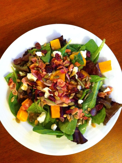 Roasted Butternut Squash Salad with Warm Bacon Dressing