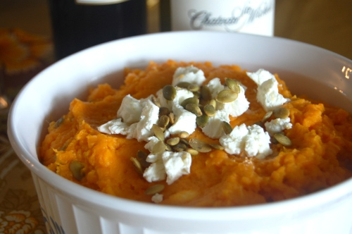 goat cheese mashed sweet potatoes with pepitas via Haute Apple Pie