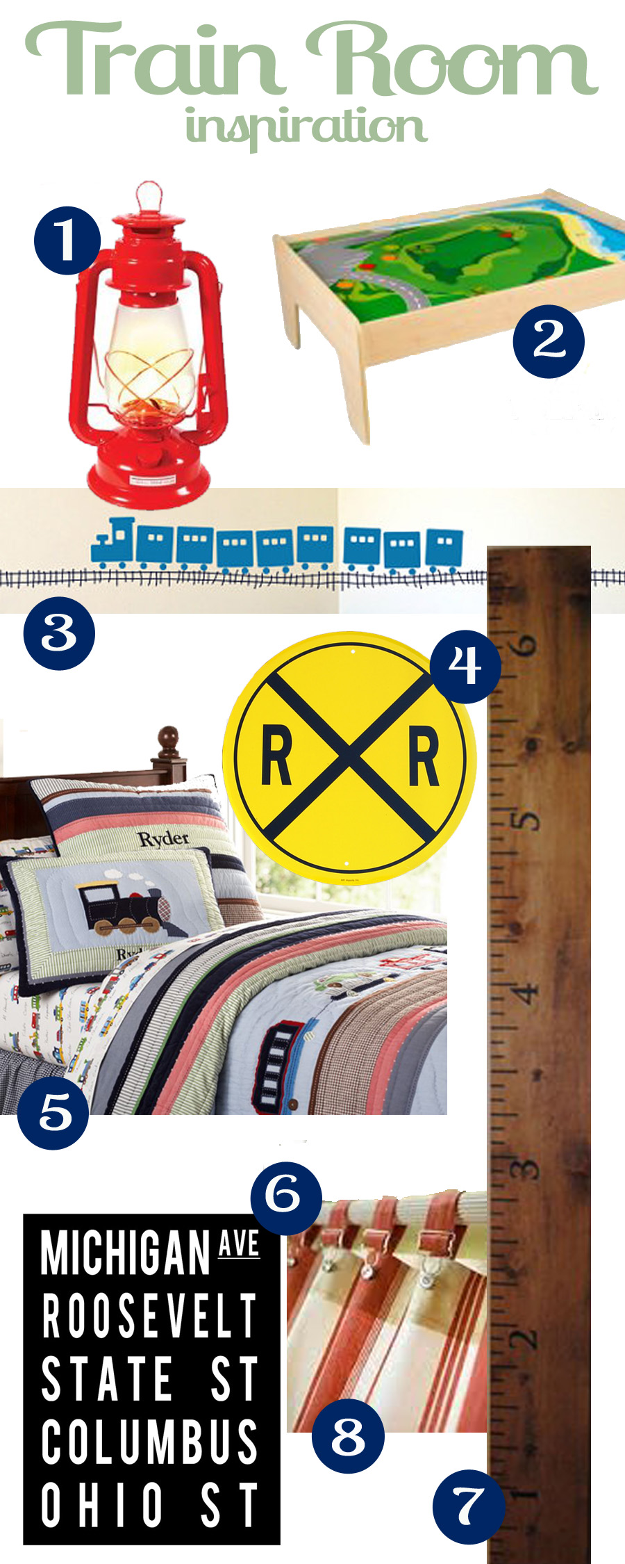 Train room inspiration thestickerhut train decal 4 aluminum railroad crossing sign 5 pottery barn ryder train bedding 6 chicago subway art 7 diy ruler growth chart 8 nvjuhfo Choice Image