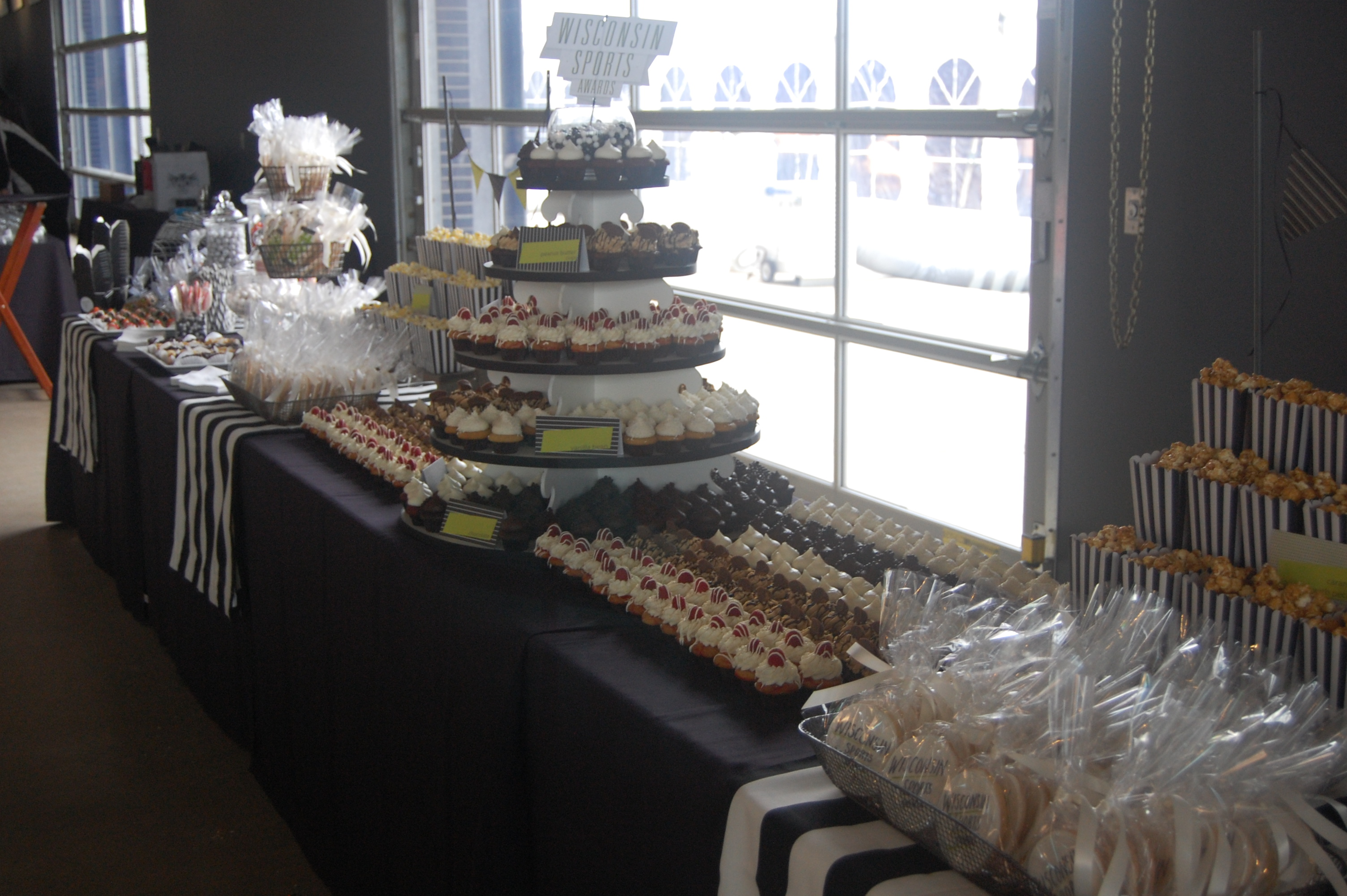 Black White And Green Dessert Table on oscar party popcorn bar