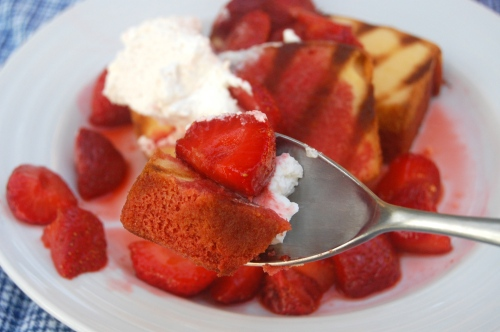 Grilled Poundcake with Balsamic Strawberries and Cream