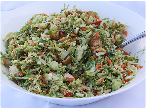 shredded brussels sprout salad 1 lb brussels sprouts ends trimmed