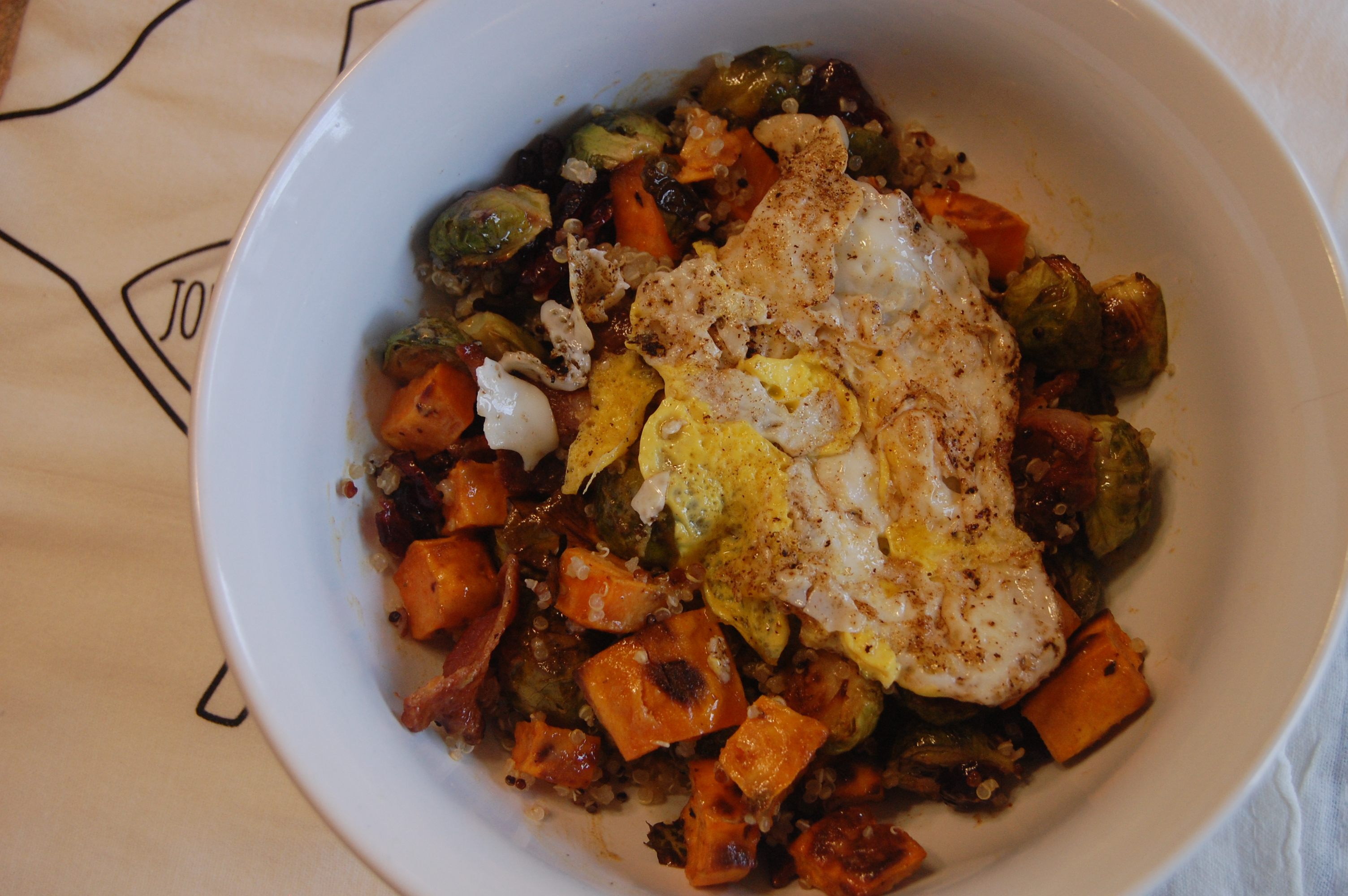 Dijon Maple Roasted Brussel Sprout and Sweet Potato Bowl